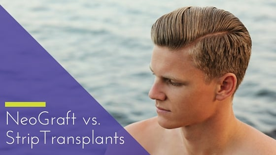 """NeoGraft vs. Strip transplants"" written over young male looking to the side"